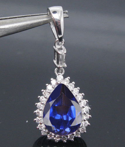 14KT SOLID GOLD 2.55 CARATS PEAR SHAPE NATURAL BLUE TANZANITE & EGL CERTIFIED DIAMOND PENDANT