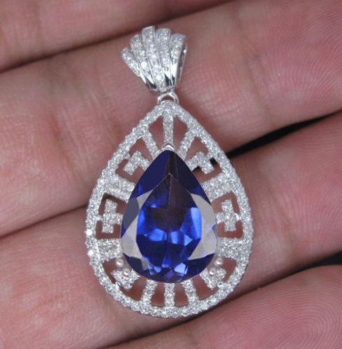 2.40 CARATS PEAR SHAPE 14KT SOLID GOLD NATURAL BLUE TANZANITE & EGL CERTIFIED DIAMOND PENDANT
