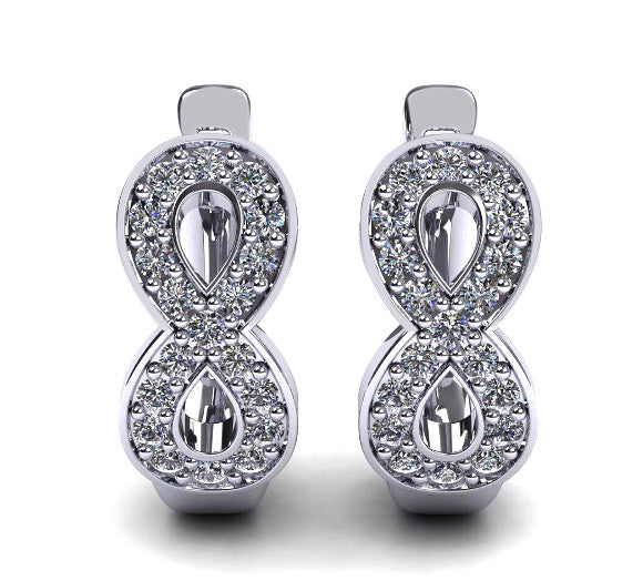 18KT SOLID GOLD 0.50CT. 100% NATURAL WHITE DIAMOND WITH FREE EGL CERTIFICATE WEDDING EARRINGS