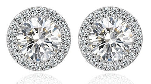 REAL 18KT SOLID GOLD BEAUTIFUL ROUND SHAPE 2.60 CARATS SOLITAIRE WOMEN'S STUDS