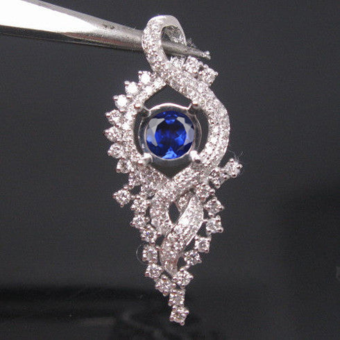 1.95 CARATS 14KT SOLID GOLD ROUND SHAPE NATURAL BLUE TANZANITE & EGL CERTIFIED DIAMOND PENDANT