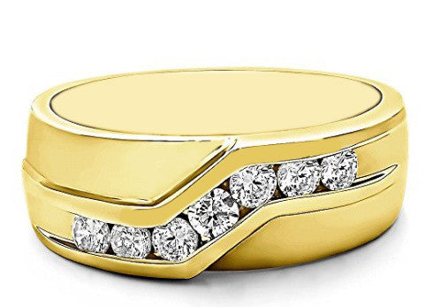 100% IGI CERTIFIED NATURAL WHITE DIAMOND 0.21CT. REAL 14KT SOLID GOLD ROUND SHAPE MEN'S BAND