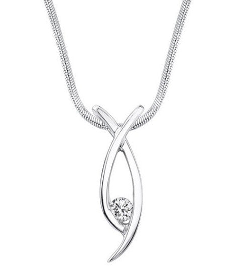 100% NATURAL 0.10CT. WHITE DIAMOND ROUND SHAPE 925 STERLING SILVER SOLITAIRE WOMEN'S PENDANT WITH FREE EGL CERTIFICATE -  WITHOUT CHAIN