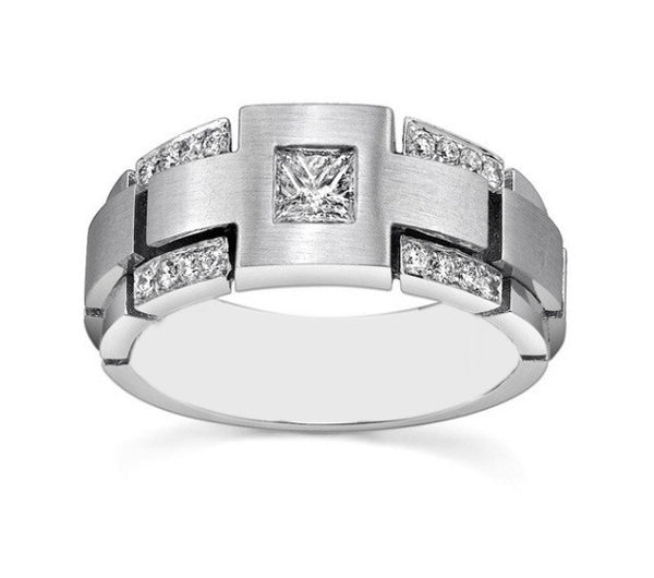 1.20 CARATS GOOD LOOKING PRINCESS SHAPE 925 STERLING SILVER SOLITAIRE MEN'S BAND