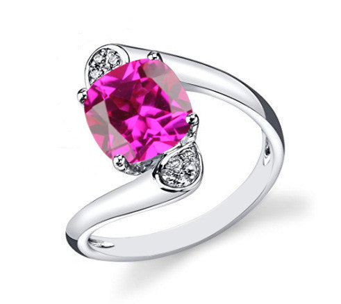 14KT SOLID GOLD 2.20 CARATS CUSHION SHAPE REAL NATURAL PINK TOURMALINE & EGL CERTIFIED DIAMOND RING