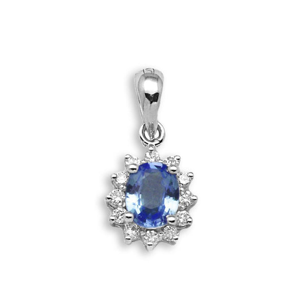 1.60 CARATS OVAL SHAPE 14KT SOLID GOLD NATURAL BLUE TANZANITE & EGL CERTIFIED DIAMOND PENDANT