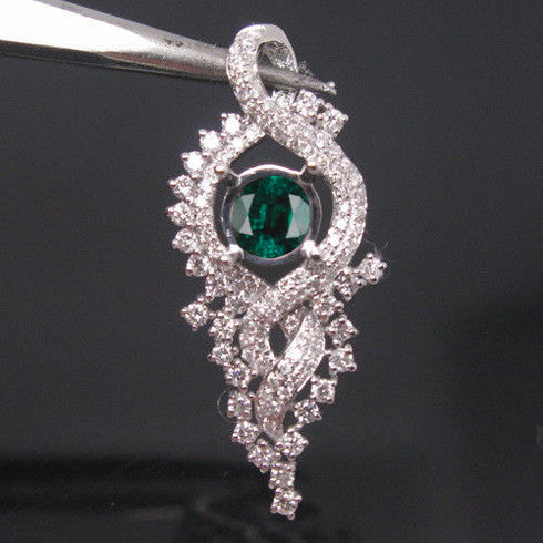 1.88 CARATS 14KT SOLID GOLD ROUND SHAPE REAL NATURAL GREEN EMERALD & EGL CERTIFIED DIAMOND PENDANT