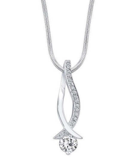 0.25CT. 925 STERLING SILVER ROUND SHAPE 100% NATURAL WHITE DIAMOND SOLITAIRE WOMEN'S PENDANT WITH FREE IGI CERTIFICATE -  WITHOUT CHAIN
