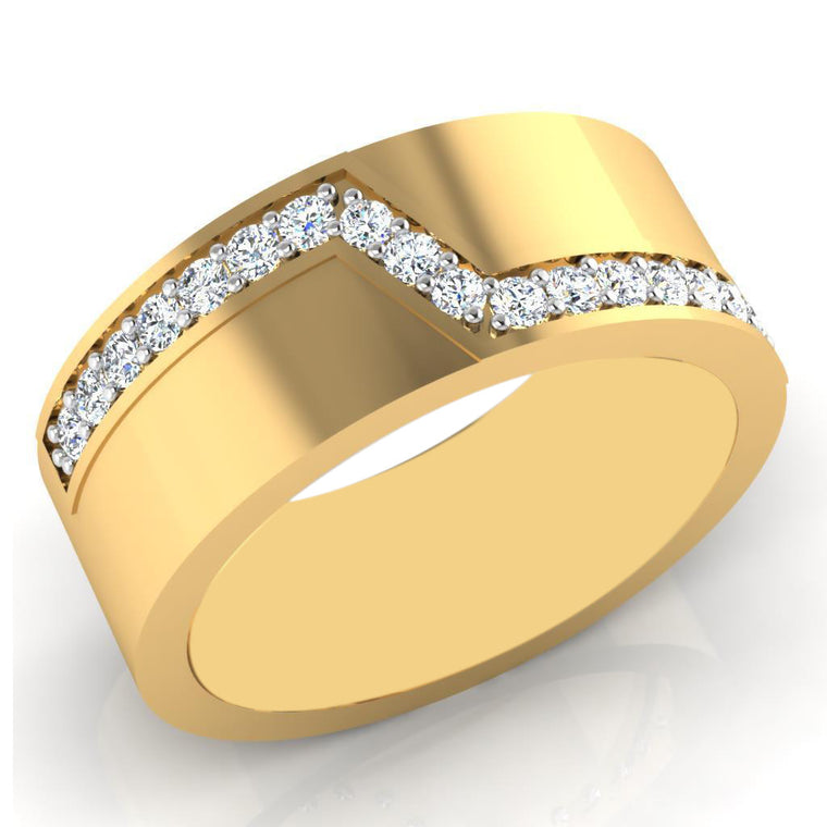 100% IGI CERTIFIED NATURAL WHITE DIAMOND 0.22CT. 14KT SOLID GOLD ROUND SHAPE WEDDING MEN'S BAND