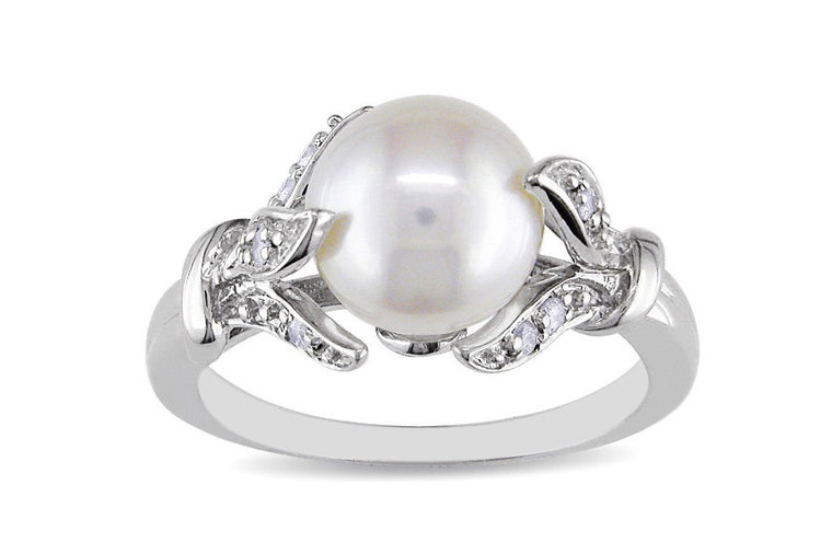 3.80 CARATS 18KT SOLID GOLD EGL CERTIFIED DIAMOND & ROUND SHAPE NATURAL FRESHWATER PEARL RING