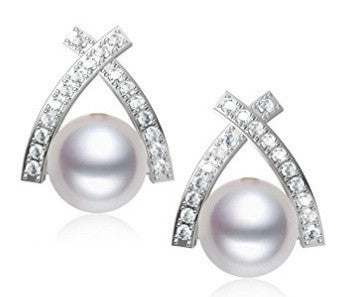 3.00 CARATS 18KT SOLID GOLD ROUND SHAPE REAL NATURAL DIAMOND & FRESHWATER PEARL EGL CERTIFIED DIAMOND EARRINGS
