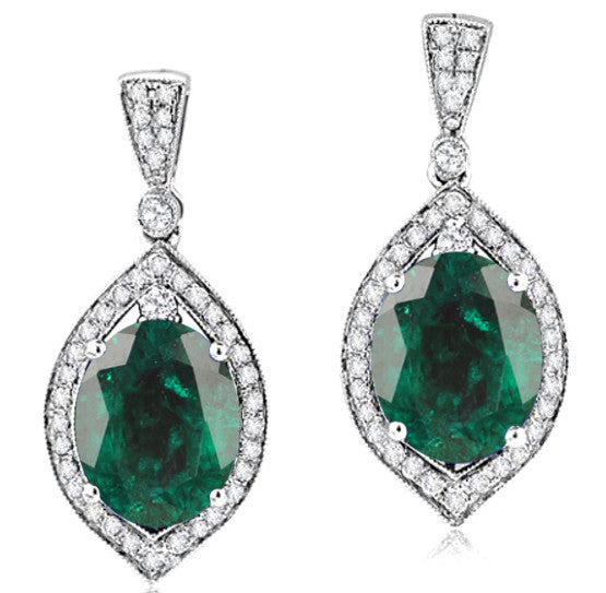 14KT SOLID GOLD 2.30 CARATS OVAL SHAPE NATURAL GREEN EMERALD & EGL CERTIFIED DIAMOND EARRINGS