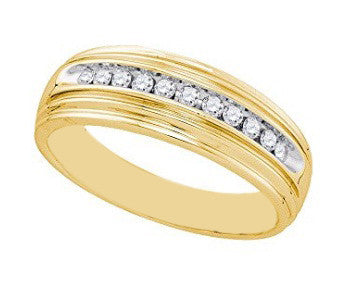 0.16CT. ROUND SHAPE 14KT SOLID GOLD 100% NATURAL WHITE DIAMOND WITH FREE EGL CERTIFICATE MEN'S BAND