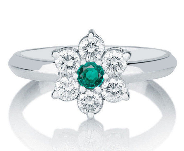 18KT SOLID GOLD 1.30 CARATS ROUND SHAPE REAL NATURAL GREEN EMERALD & EGL CERTIFIED DIAMOND RING