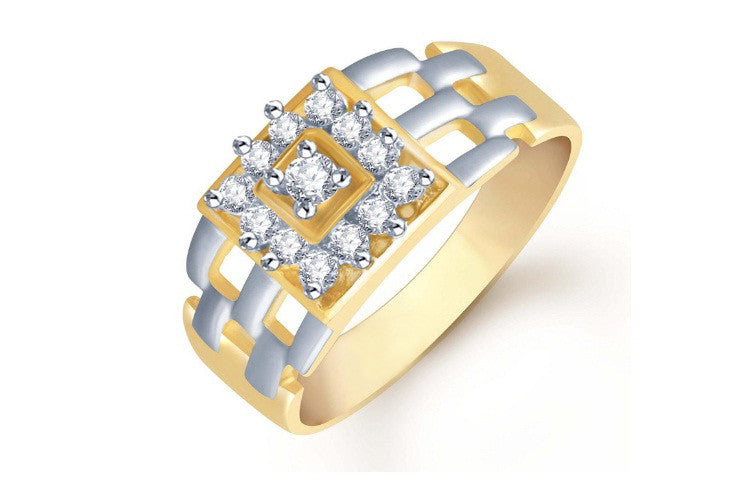 18KT SOLID GOLD 0.20CT. ROUND SHAPE 100% NATURAL WHITE DIAMOND WITH FREE EGL CERTIFICATE MEN'S RING