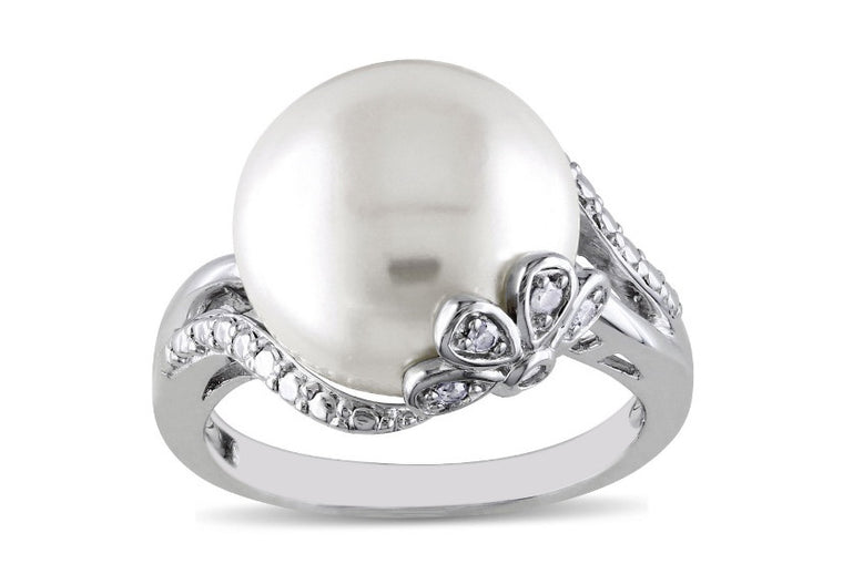 REAL 18KT SOLID GOLD 3.75 CARATS EGL CERTIFIED DIAMOND & ROUND SHAPE NATURAL FRESHWATER PEARL RING