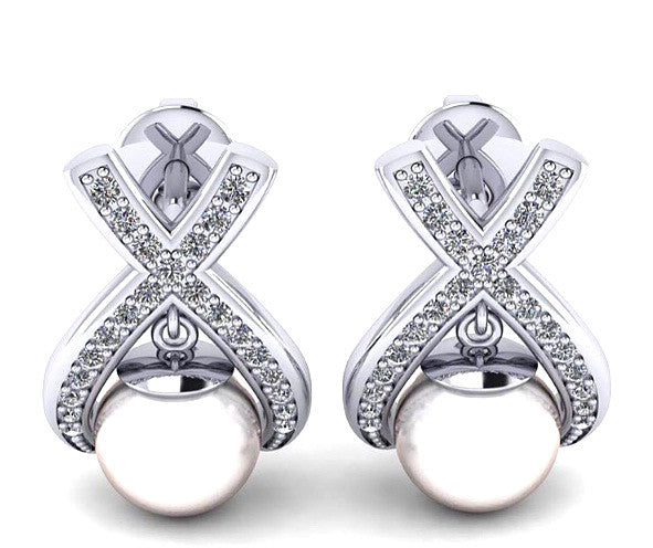 14KT SOLID GOLD 3.00 CARATS ROUND CUT REAL NATURAL DIAMOND & FRESHWATER PEARL EGL CERTIFIED DIAMOND STUDS