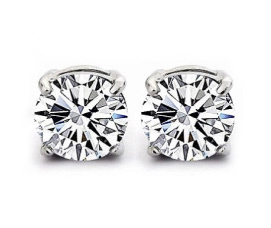 18KT SOLID GOLD ROUND SHAPE 2.40 CARATS SOLITAIRE WOMEN'S STUDS