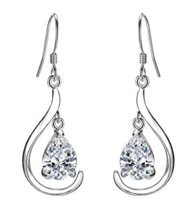 REAL 18KT SOLID GOLD 1.60 CARATS PEAR SHAPE SOLITAIRE WOMEN'S EARRINGS