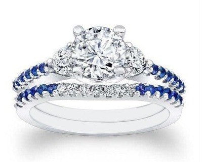 REAL 14KT SOLID GOLD ROUND SHAPE 1.80 CARATS INK BLUE & WHITE SOLITAIRE ENGAGEMENT SET