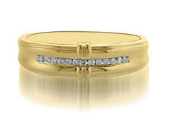 14KT SOLID GOLD 0.16CT. ROUND SHAPE NATURAL WHITE DIAMOND WITH FREE EGL CERTIFICATE MEN'S BAND