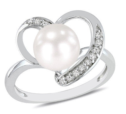 3.30 CARATS REAL 18KT SOLID GOLD EGL CERTIFIED DIAMOND & ROUND SHAPE NATURAL FRESHWATER PEARL RING