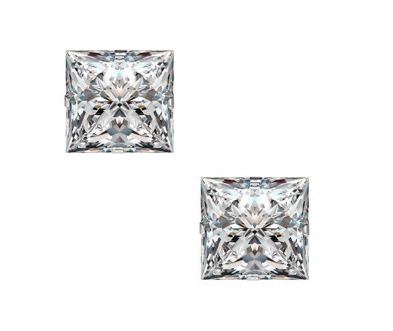 2.15 CARATS 18KT SOLID GOLD STUNNING PRINCESS CUT SOLITAIRE WOMEN'S EARRINGS