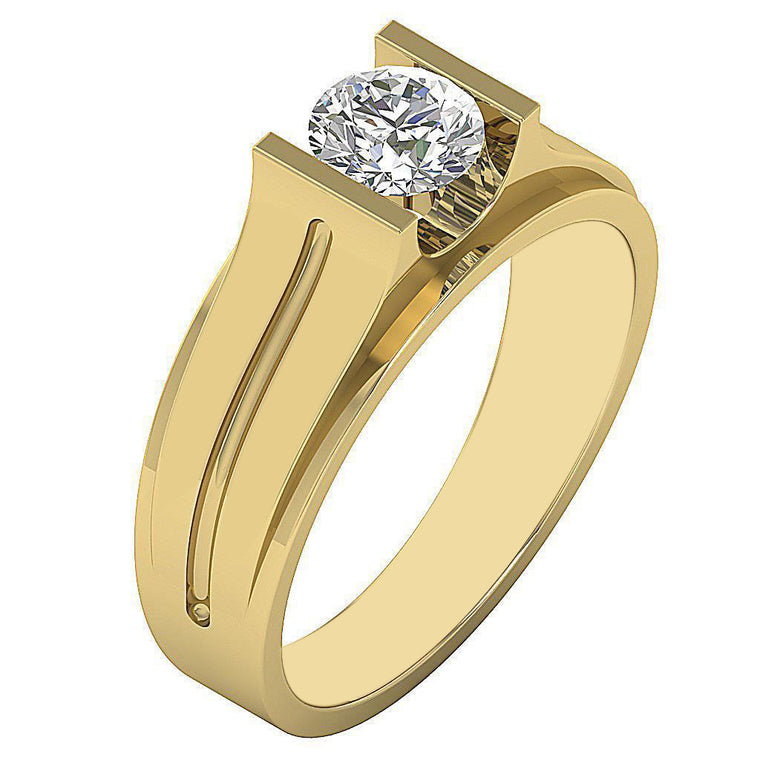 REAL 14KT SOLID GOLD ROUND SHAPE 1.85 CARATS SOLITAIRE MEN'S RING