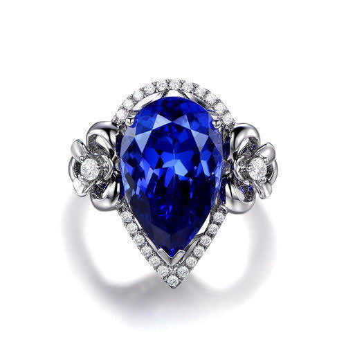 1.55 CARATS PEAR SHAPE 14KT SOLID GOLD 100% REAL NATURAL BLUE TANZANITE & EGL CERTIFIED DIAMOND RING