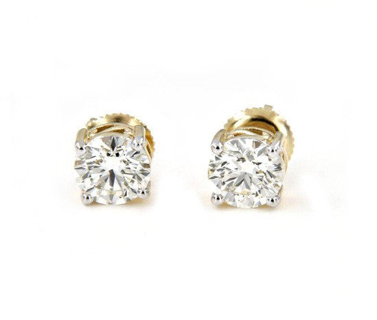 2.30 CARATS 18KT SOLID GOLD SUPERB ROUND SHAPE SOLITAIRE WEDDING EARRINGS