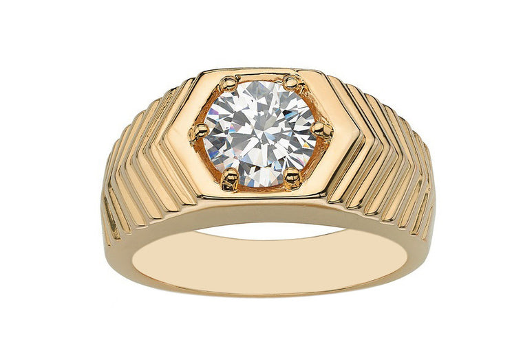 REAL 18KT SOLID GOLD 1.85 CARATS AMAZING ROUND SHAPE SOLITAIRE MEN'S RING
