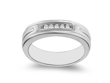 100% IGI CERTIFIED NATURAL WHITE DIAMOND 0.15CT. ROUND SHAPE 14KT SOLID GOLD MEN'S RING