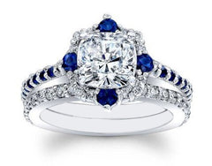 14K SOLID GOLD 2.70 CARATS ROUND SHAPE INK BLUE & WHITE SOLITAIRE ENGAGEMENT SET