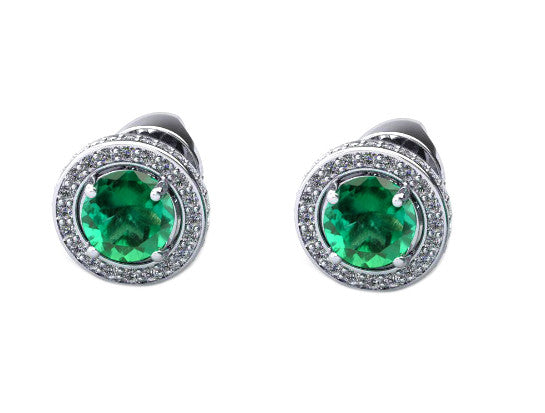 REAL 18KT SOLID GOLD 2.40 CARATS ROUND SHAPE NATURAL GREEN EMERALD & EGL CERTIFIED DIAMOND STUDS