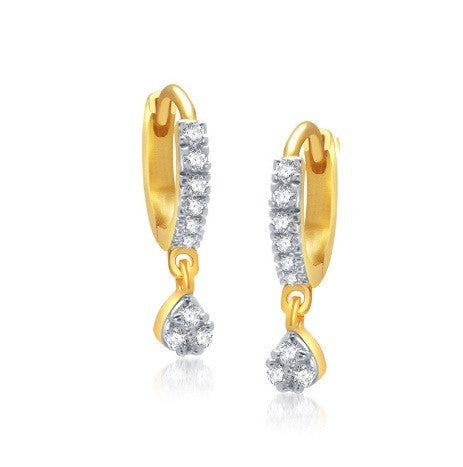 REAL 18KT SOLID GOLD 0.22CT. NATURAL WHITE DIAMOND EGL CERTIFIED WOMEN'S EARRINGS