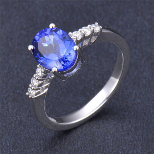 1.60 CARATS OVAL SHAPE 14KT SOLID GOLD REAL NATURAL BLUE TANZANITE & EGL CERTIFIED DIAMOND RING