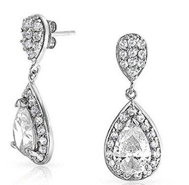 2.40 CARATS REAL 18KT SOLID GOLD GRACEFUL PEAR SHAPE SOLITAIRE WOMEN'S EARRINGS