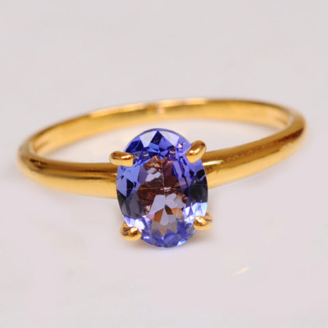 18KT SOLID GOLD OVAL SHAPE 2.20 CARATS NATURAL BLUE TANZANITE WOMEN'S RING WITH FREE CERTIFICATE