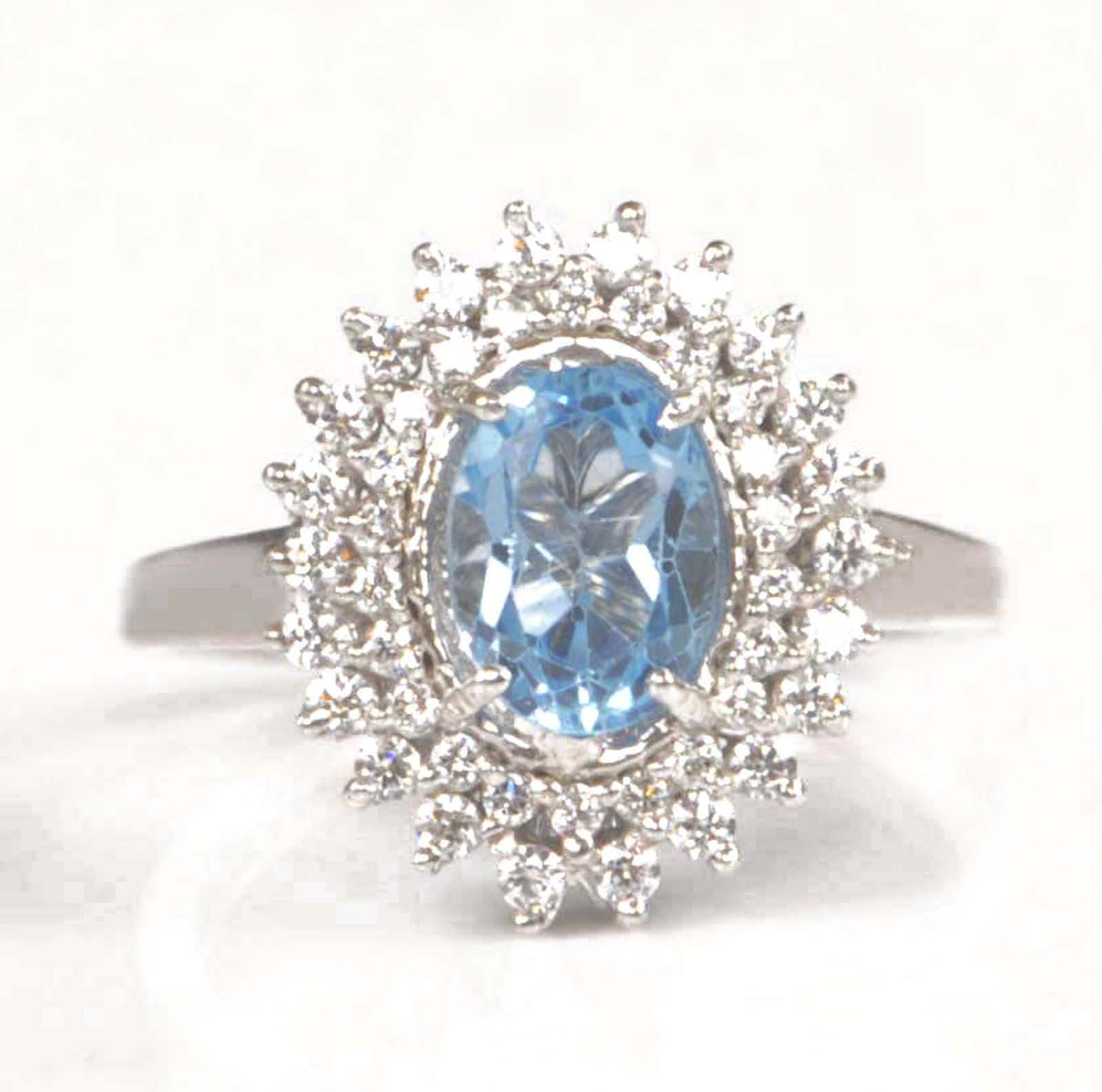 2.45 CARATS OVAL SHAPE 14KT SOLID GOLD REAL NATURAL BLUE TOPAZ & EGL CERTIFIED DIAMOND RING