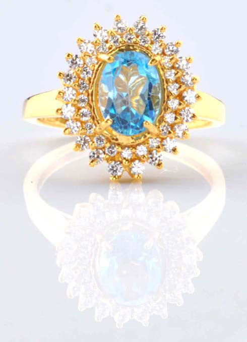 18KT SOLID GOLD 2.55 CARATS OVAL SHAPE REAL NATURAL BLUE TOPAZ & EGL CERTIFIED DIAMOND RING