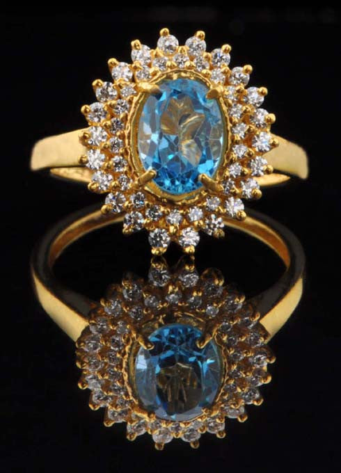 14KT SOLID GOLD 2.55 CARATS OVAL SHAPE REAL NATURAL BLUE TOPAZ & EGL CERTIFIED DIAMOND RING