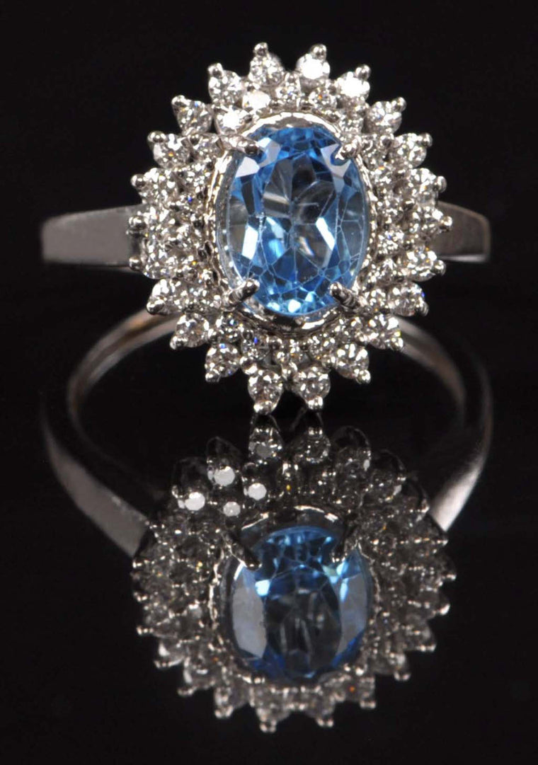 18KT SOLID GOLD 2.60 CARATS OVAL SHAPE REAL NATURAL BLUE TOPAZ & EGL CERTIFIED DIAMOND RING