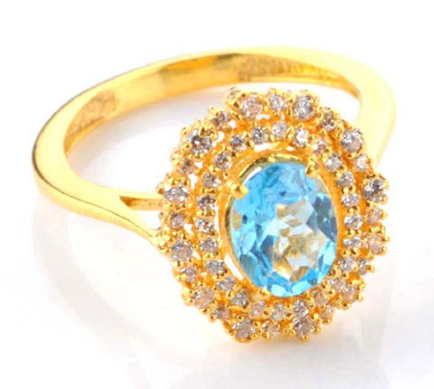 2.65 CARATS OVAL SHAPE 14KT SOLID GOLD REAL NATURAL BLUE TOPAZ & EGL CERTIFIED DIAMOND RING