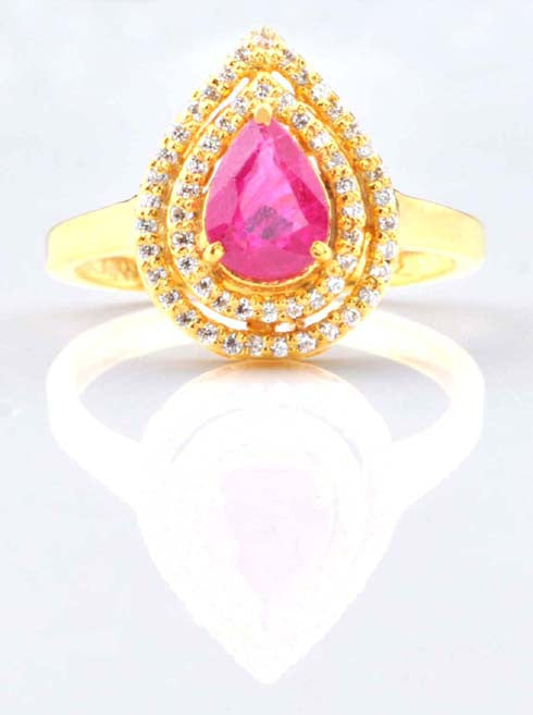 14KT SOLID GOLD 1.60 CARATS PEAR CUT REAL NATURAL PINK TOURMALINE & EGL CERTIFIED DIAMOND RING