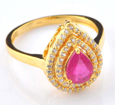 1.50 CARATS PEAR SHAPE REAL 18KT SOLID GOLD NATURAL PINK TOURMALINE & EGL CERTIFIED DIAMOND RING