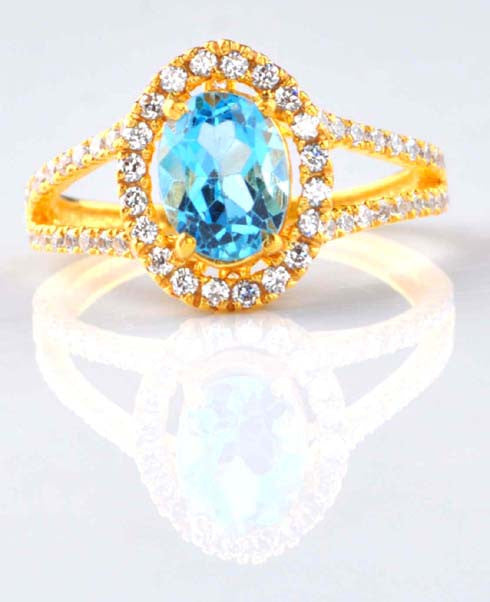 2.80 CARATS OVAL SHAPE 14KT SOLID GOLD REAL NATURAL BLUE TOPAZ & EGL CERTIFIED DIAMOND RING