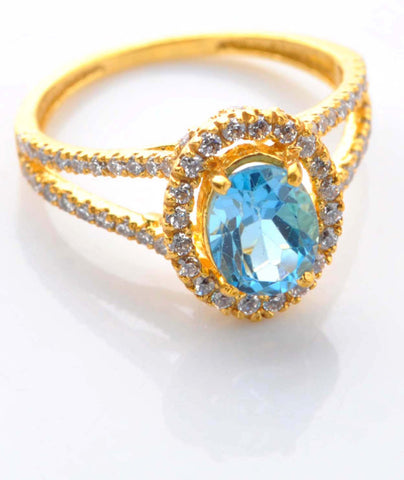 2.70 CARATS OVAL SHAPE REAL 18KT SOLID GOLD NATURAL BLUE TOPAZ & EGL CERTIFIED DIAMOND RING