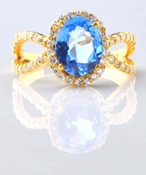 2.70 CARATS OVAL SHAPE 14KT SOLID GOLD REAL NATURAL BLUE TOPAZ & EGL CERTIFIED DIAMOND RING