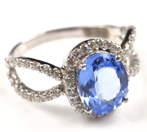 2.60 CARATS OVAL SHAPE 18KT SOLID GOLD REAL NATURAL BLUE TOPAZ & EGL CERTIFIED DIAMOND RING