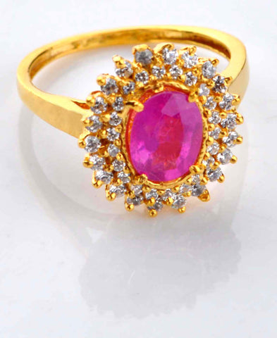 2.70 CARATS 18KT SOLID GOLD OVAL SHAPE REAL NATURAL PINK TOURMALINE & IGI CERTIFIED DIAMOND RING